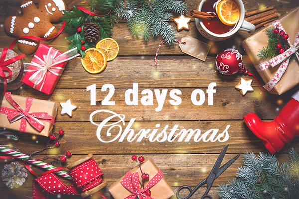 Festive background with 12 days of Christmas text in centre of image