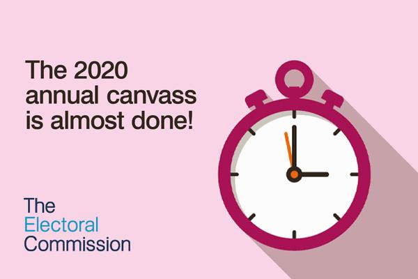 Image of stopwatch with wording: The 2020 annual canvass is almost done