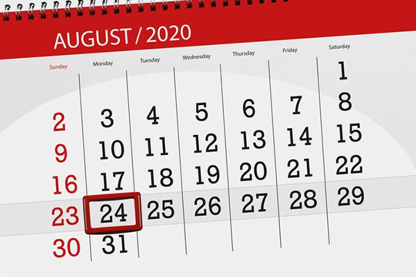 calendar with 24 August circled