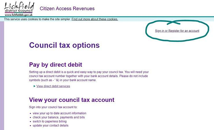 Sign up to link your ctax/benefits or business rates account