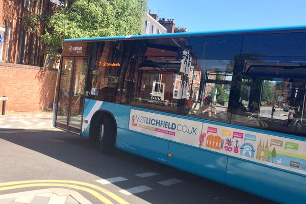 Bus with Visit Lichfield advert on the side