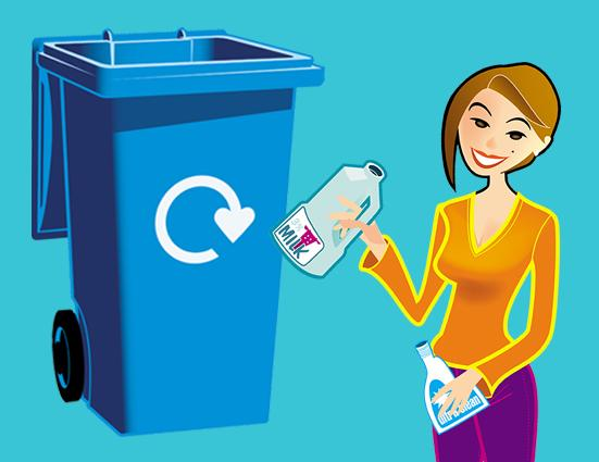 cartoon of blue wheelie bin and woman holding plastic bottles