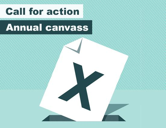 Illustration of vote with an x being put in a box with the line 'Call for action' and 'Annual canvass'.