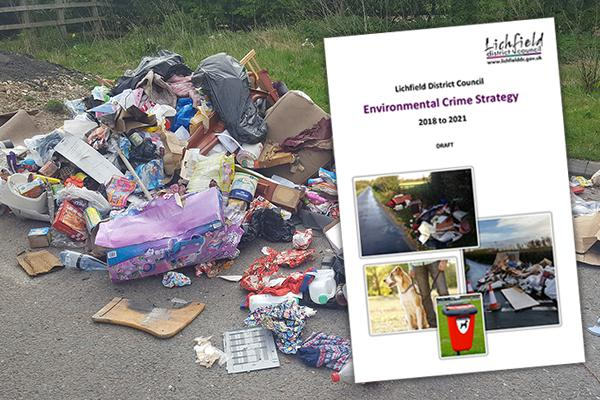 pile of waste dumped on a road with image of strategy over the top