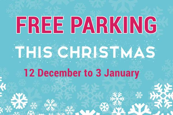 Festive illustration with wording: Free parking this Christmas, 12 December to 3 January