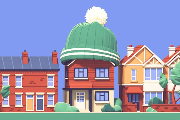 illustration of a street of houses with the middle one wearing a woolly bobble hat