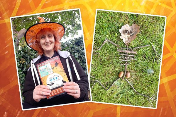 image of woman in witches hat holding trail and a picture of a skeleton made out of twigs