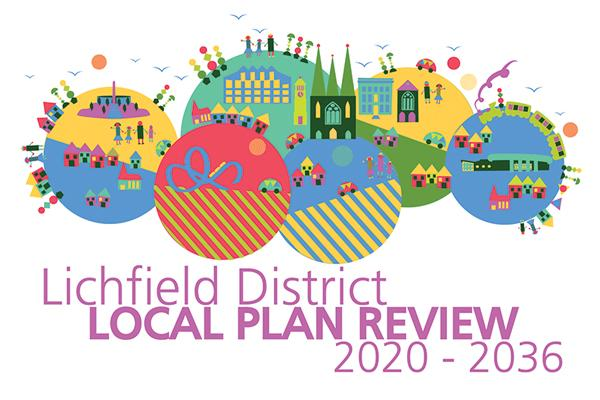 colourful illustration of Lichfield District with Lichfield District Local Plan Review text
