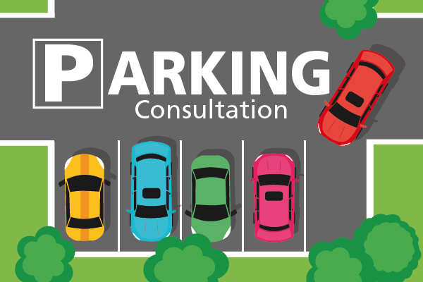 Cartoon image of car park with parking consultation title