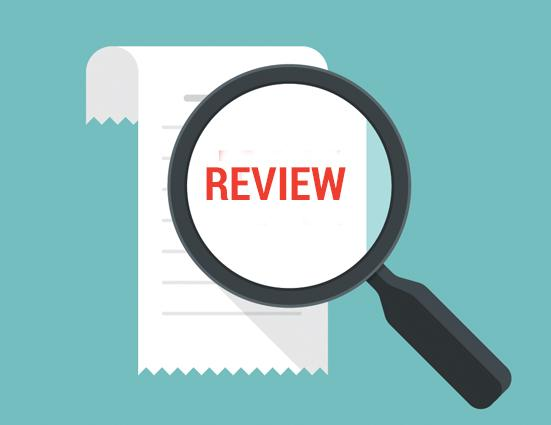 image of a spy glass over the word review