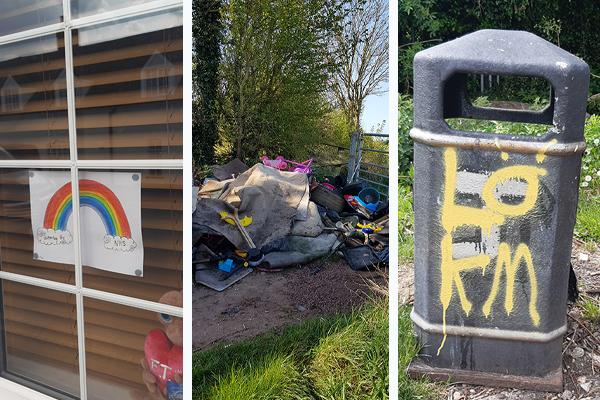 image of rainbow picture in window, fly-tipping, and a bin with graffiti on it
