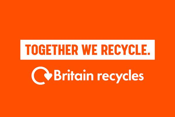 workds together we recycle and reclycle icon with words Britain recycles