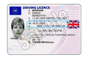 Uk driving licence example inc date