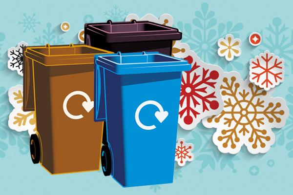 illustration of brown, blue and black bin with snowflake background