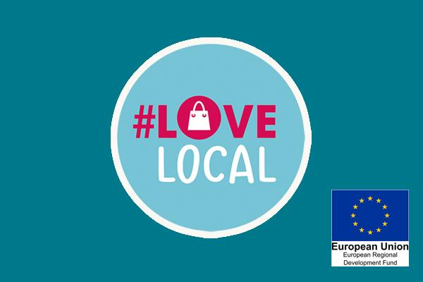 Love Local logo with ERDF logo