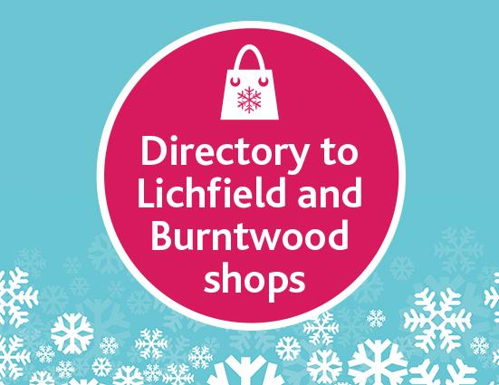 Festive snowflakes with wording: Directory to Lichfield and Burntwood shops
