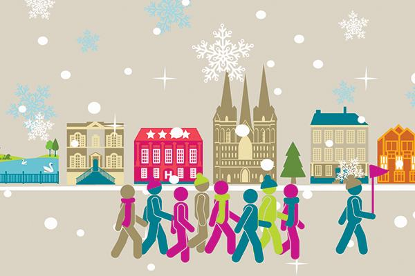 illustration of people walking in a tour with historic buildings in the background