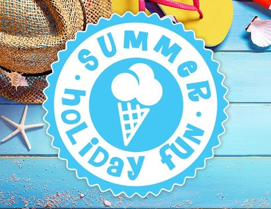 summer holiday fun logo with picture of ice cream in the middle