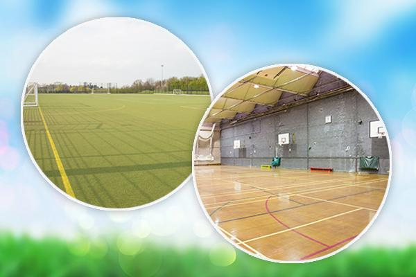 Image of pitch and sports hall against blue background