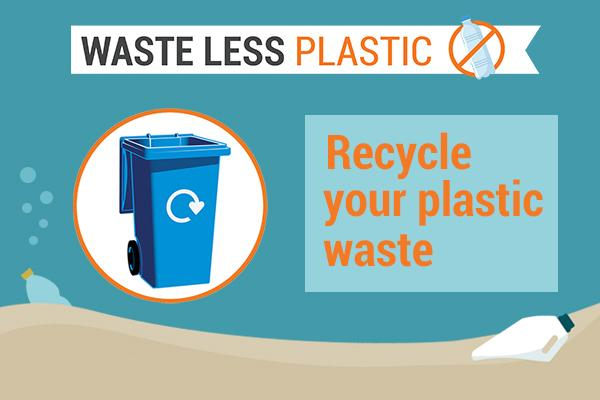 image of blue bin and text recycle your plastic waste